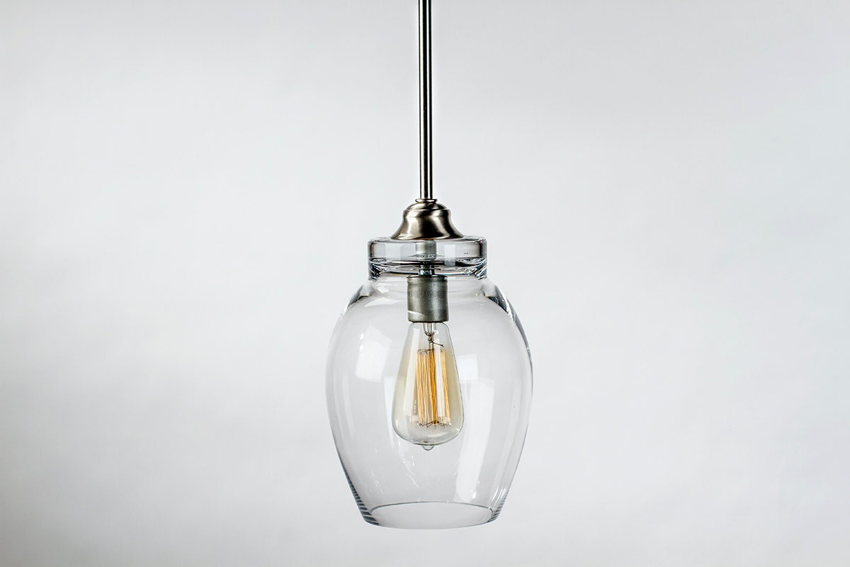 pendant light fixture edison bulb large lotus brushed