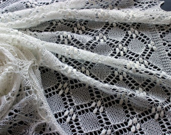Christening baby blanket, hand knit heirloom baby shawl, Estonian lace, newborn photo prop, crib blanket, bassinet blanket, baby shower gift