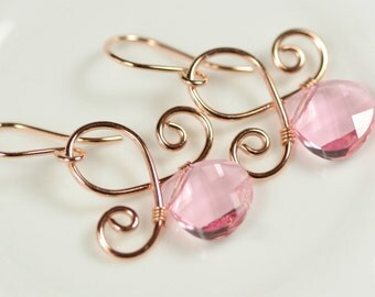 Rose Gold Light Pink Swarovski Crystal Earrings Wire Wrapped Jewelry Handmade Pink Earrings Swarovski Crystal Jewelry Rose Gold Earrings