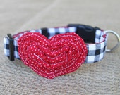 Valentine's Dog Collar - Black Gingham and Red Pin Dot Heart