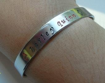 Harley Quinn Hand Stamped Bracelet - Batman Joker DC Comics Harley Quinn Jewelry Harleen Quinzel Villain Bracelet Suicide Squad Bracelet
