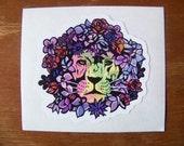 Lion Sticker Floral Mane Vinyl Decal
