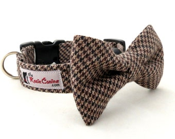 Brown, Black and Tan Houndstooth Dog Collar (Matching Bowtie Available & Sold Separately)