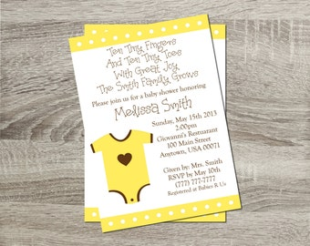 Printable Baby Shower Invitation - Neutral Baby Yellow Onsie 5x7 Invitation