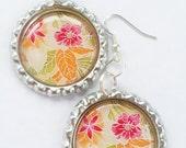 Japanese Floral Pink Green Orange Print Bottle Cap Earrings