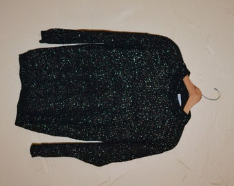 Vintage Sweater Pullover Sweater 80s Sparkly Glitter Sweater Black and Silver Sweater Slouchy Oversized Sweater Size Medium to Large