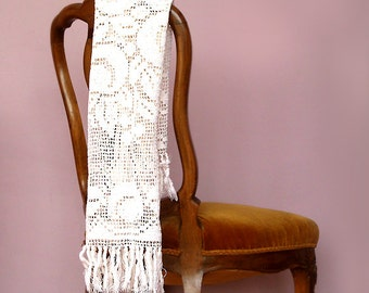 Antique Cotton Crochet Runner , White Handmade Lace Runner