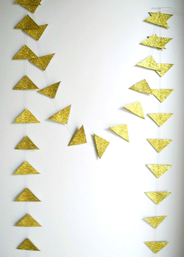Gold Glitter Triangle Garland Geometric garland by HoopsyDaisies