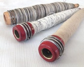 Three Vintage QUILL BOBBINS - Gray, White & Tan - Large Industrial Threaded Wooden Textile Spindle Spools - for Home Décor and Crafts
