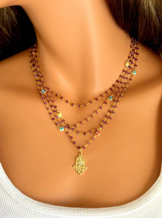 Hamsa Necklace Amethyst Gemstones Gold By Divinitycollection