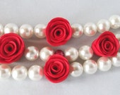Statement Jewelry, Red Rose, Valentines Day, Rose Bracelet, Gift Idea, Pearl Bracelet, Weddings