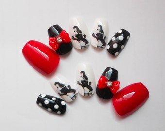 Bettie Page Fake Nails, Coffin Nails, Ballerina, Press on, Acrylic, Nails, Pin Up, Bettie Page, Retro, Vintage