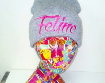 Feline Beanie Kitty Meow Female Knit Skull Cap with Cuff Made to Order
