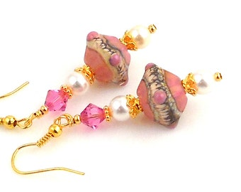 Pink and White Lampwork Earrings, Dangle Earrings, Fashion Jewelry, Gifts, Wedding Jewelry, Mother's Day, Career Wear
