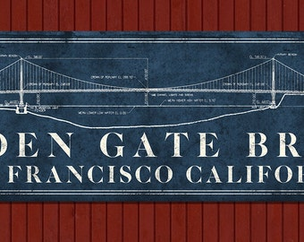 "Vintage Golden Gate Bridge METAL Blueprint 48x14"" FREE SHIPPING"