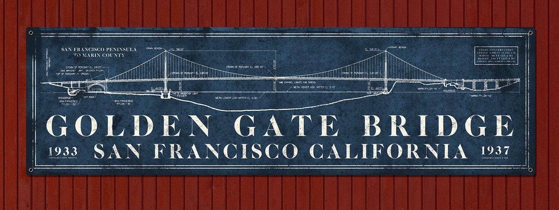 vintage golden gate bridge metal blueprint 48x14 free. Black Bedroom Furniture Sets. Home Design Ideas