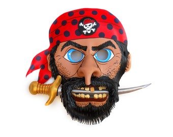Blackbeard Pirate Leather Mask Buccaneer Sword Halloween Corsair Swashbuckler Skull Black Red Bandana Carnival Party Children Adults Holiday