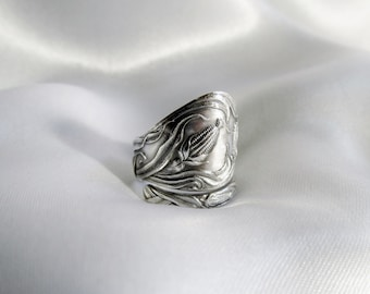 Tribal Maize Spoon Ring Sterling Silver Ring Native American Symbol of Life, Fertility, Bounty