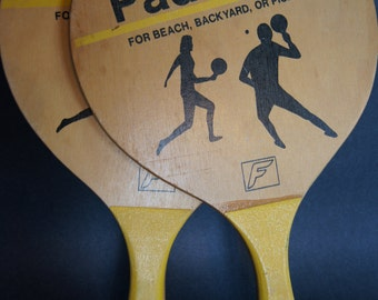 Retro FRANKLIN PADDLEBALL Paddles for Beach, Backyard or Picnic Yard Play Home Decor Man Cave Game Room