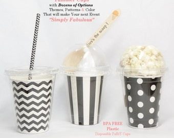 BLACK & WHITE Party Cup TumbLeRs -  6 in Design of Choice Disposable Affordable Event Favors GumBalls/Popcorn/IceCream -craft supplyEasy DIY