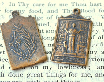 St, Agnes Medal  - Bronze or Sterling Silver - Made in USA (M-1255)