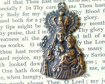 "Madonna and Child - 1 5/8"" - Bronze or Sterling Silver - Catholic Medal - Religious Medal  (M146-1252)"