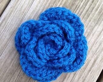 Blue Crochet Rose Brooch, Royal Blue Rose Brooch Pin, Crochet Shawl Pin, Crochet Flower Brooch, Blue Rose Pin, Bag Accessory