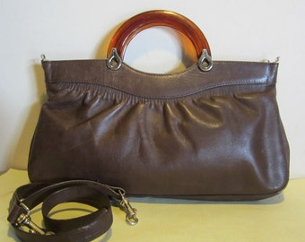 Great vintage brown leather bag with plexi handles,seventies