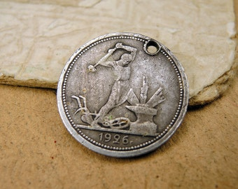 1926 Old Sterling Silver Coin - one half a ruble - с52