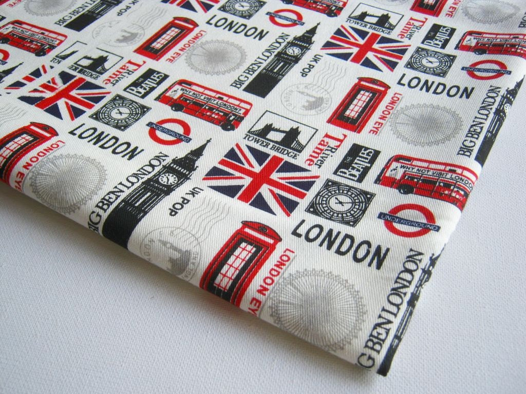 London Cotton Fabric Off-White Fabric The Beatles UK