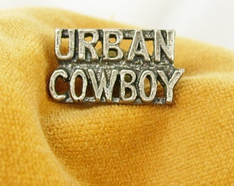 Pewter Urban Cowboy Tie Tac Lapel Pin Pinback Movie John Travolta Birthday Valentines
