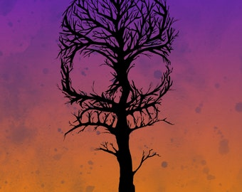 Skull Tree Pen Fine Art Print