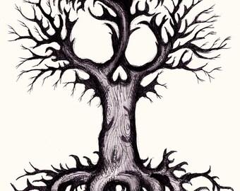 Skull Tree Part 3 Pen Fine Art Print