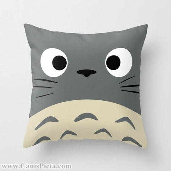 Totoro Kawaii My Neighbor Throw Pillow 16x16 Graphic Print Art Cover Anime Decorative Grey Creature Manga Troll Hayao Miyazaki Studio Ghibli