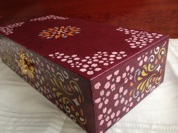 Hanji Chest, Jewelry Box with Metal Bee Lock and Intricate Flower Design One of a Kind OOAK