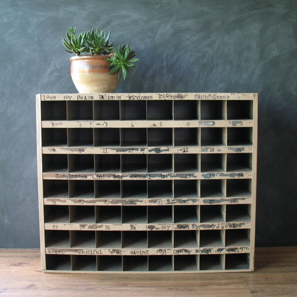 vintage metal industrial cubby mechanic shelving unit. Black Bedroom Furniture Sets. Home Design Ideas