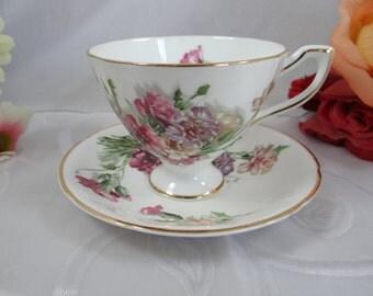 1960s Vintage English Castle Bone China Teacup Pedestal English Teacup and Saucer English Tea cup