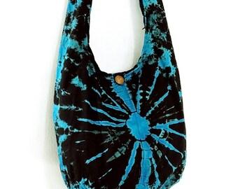 Tie Dye Bag Cotton Bag Hippie bag Hobo bag Boho bag Shoulder bag Sling bag Messenger bag Tote bag Crossbody bag Gypsy Purse Turquoise Blue