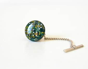 Circuit Board Tie Pin, Geekery  Men's Accessory, Wedding Tie Tack, Best Man Father Gift