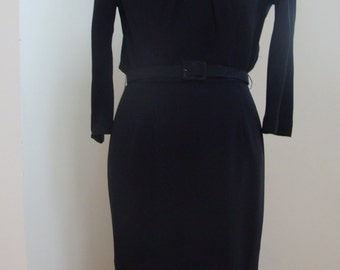 40's Black Crepe Day Dress with Bodice Pleating