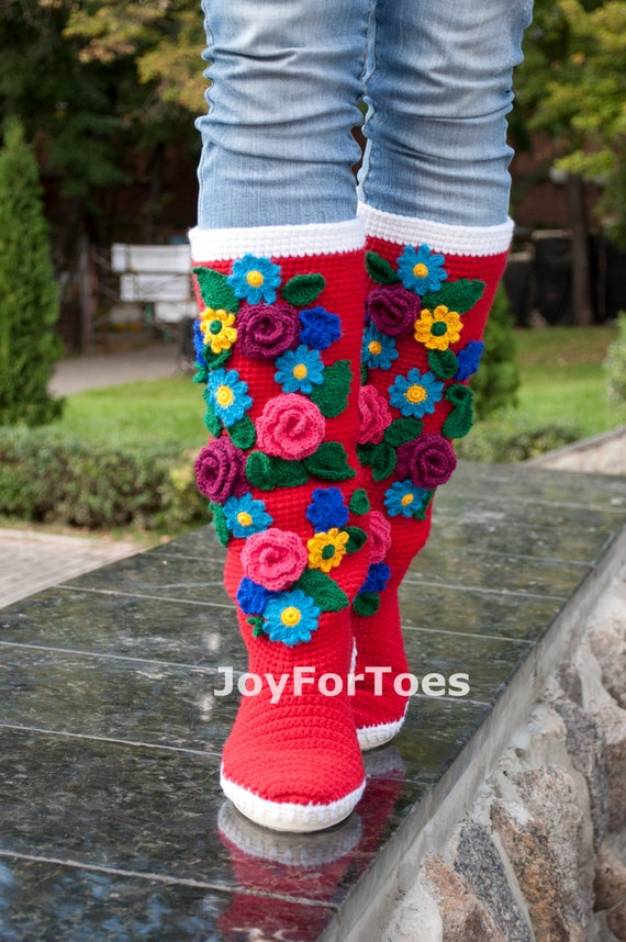 Crochet Boots for the Street Folk Tribal Boots Boho Boots Made to Order Pavlov Posad