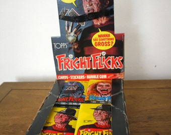 Fright Flicks 80s Horror Movie Trading Cards. Unopened Pack of Monster Movie Cards. Gross Scary but Funny 80s Gore Cult Classic