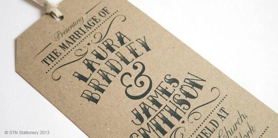 Vintage Tag Wedding Invitation - Gift Tag Luggage Tag Eco ...