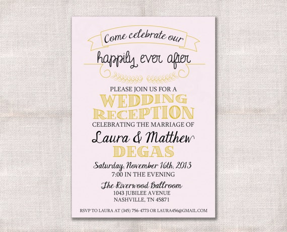 Wedding Reception Invite Wording: Wedding Reception Celebration After Party Invitation Custom