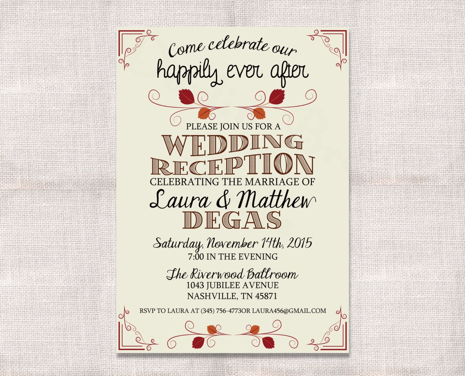 Invitation Wording For Wedding Reception: Wedding Reception Celebration After Party Invitation Custom