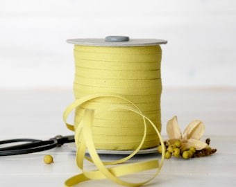 "Chartreuse Cotton Ribbon -  5, 20 or 109 Yards - 100% Cotton from Italy - 1/4"" wide - Lemon Grass Eco Friendly Ribbon - Cotton Ribbons Bulk"