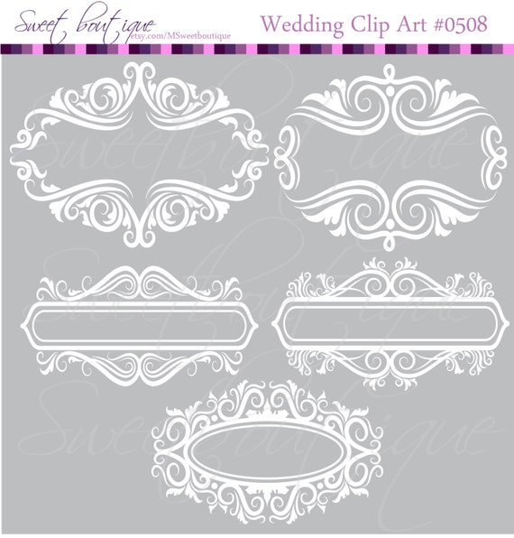WHITE Floral Frame Ornaments Decoration Graphics Border