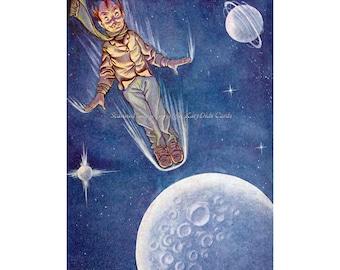 Moon Fabric Block   Man Flies to the Moon   Repro HC Anderson Story Milo Winter