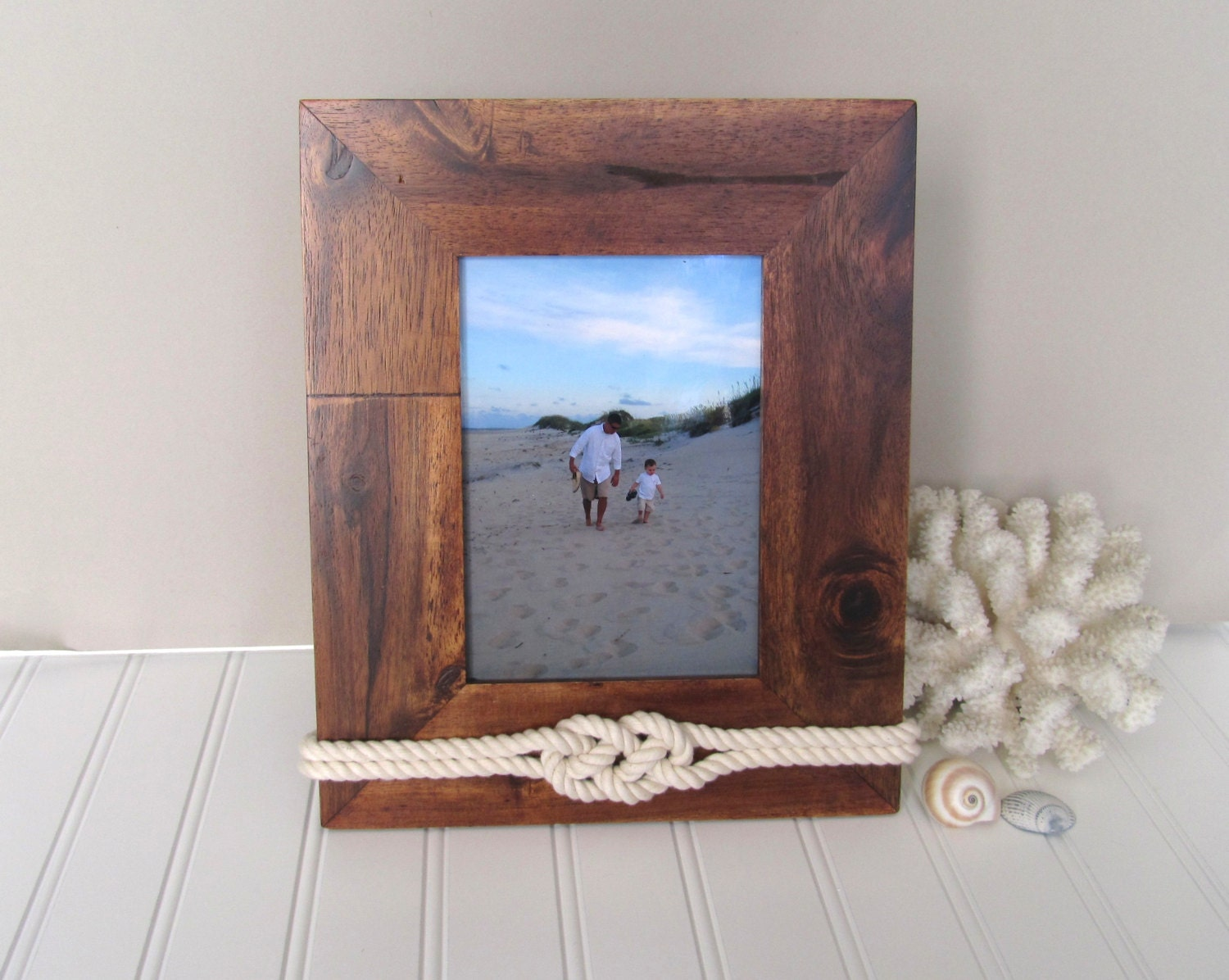 5x7 coastal wood picture frame nautical decor by goldengray. Black Bedroom Furniture Sets. Home Design Ideas