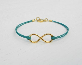 Leather infinity bracelet, Gold Infinity bracelet, Gold leather bracelet